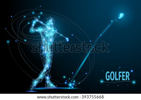Golfer hits the ball in motion. Polygonal  golf player from futuristic shape. Thin line vector abstract polygonal blue. Wireframe cybernetic particles mesh. - stock vector