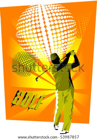 Golfer on the field makes a strong blow mallet; - stock vector