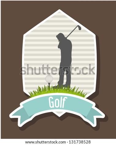 golfer over label background, golf. vector illustration - stock vector