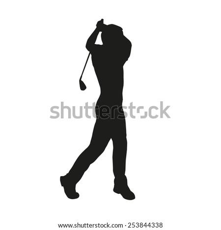 Golfer silhouette - stock vector