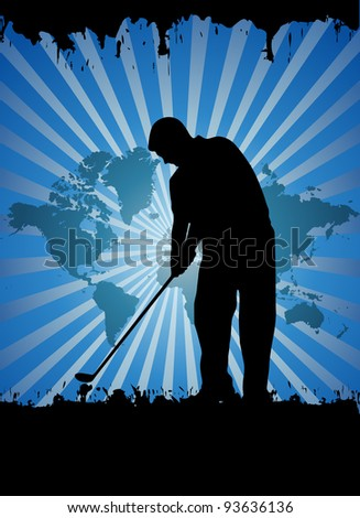 Golfer silhouettes, vector illustration - stock vector