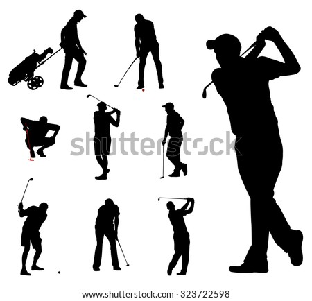 golfers silhouettes collection 2 - stock vector