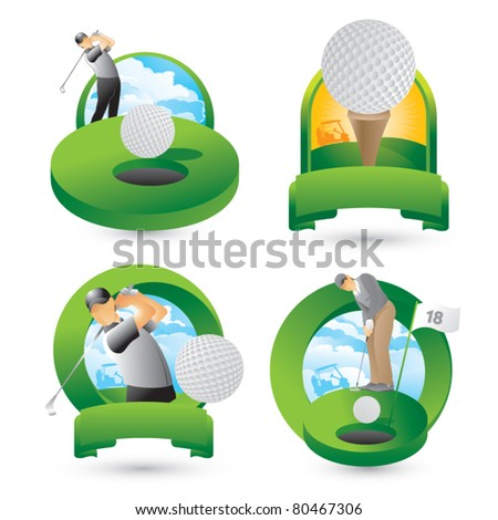 Golfers swinging, putting, and golf ball on tee - stock vector
