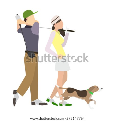 golfing man and woman vector isolate on white background. - stock vector