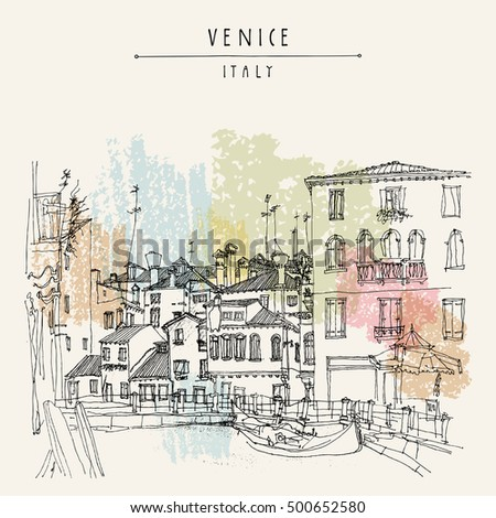 Gondola in Venice, Italy, Europe. Vector hand drawn vintage touristic postcard