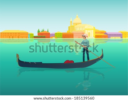 Gondolier in a gondola boat in a famous beautiful and romantic city - Venice. Vector design illustration Venezia colorful landscape, italian street seafront silhouette and blue canal. - stock vector