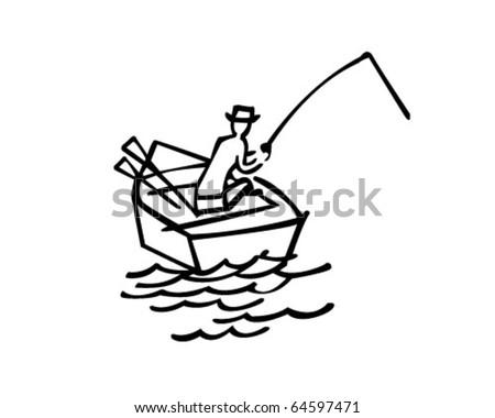 Gone Fishing - Retro Clipart Illustration - stock vector