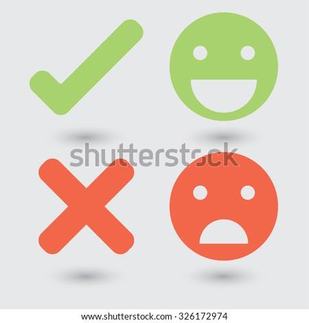 Good bad symbols - stock vector