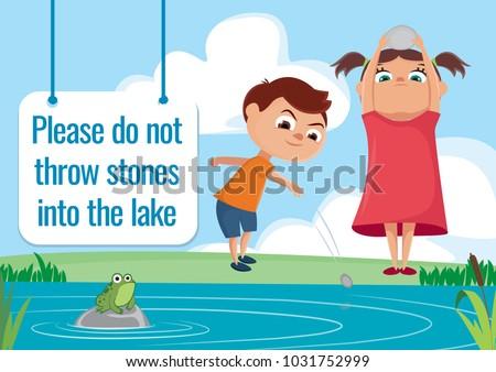 Good Behaviour Sign Children Throwing Stones Stock Vector 1031752999