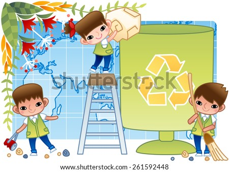 Good Children - throw refuse into big litter bin and sweep with a broomstick the street and pick up trash on bright blue and white background with leaves and floral patterns : vector illustration - stock vector