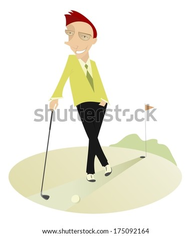 Good day for playing golf. Smiling golfer on the golf course  - stock vector
