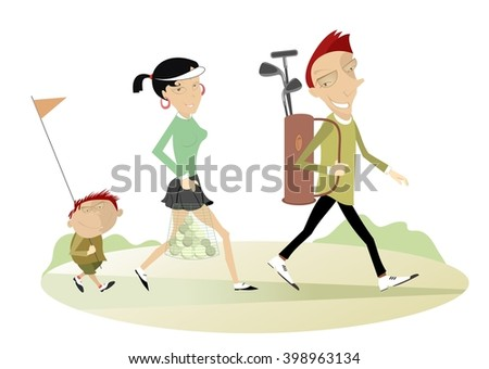Good day for playing golf. Smiling man, woman and a boy are going to play golf  - stock vector