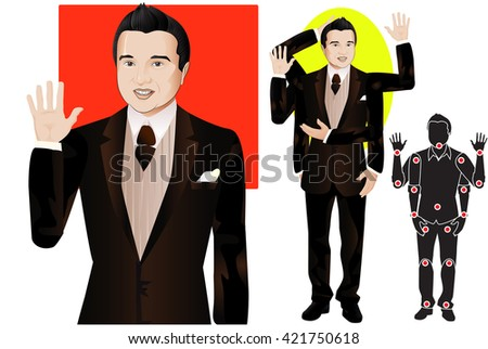GOOD FOR ANIMATION. man character in formal suit and tie, doll with separate joints. Gestures for animated work movement. Parts of body template for design work and animation. Body elements. Set - stock vector