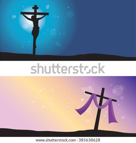 Good Friday & Easter day. Vector illustration of Jesus Christ's crucifixion and Resurrection.  - stock vector