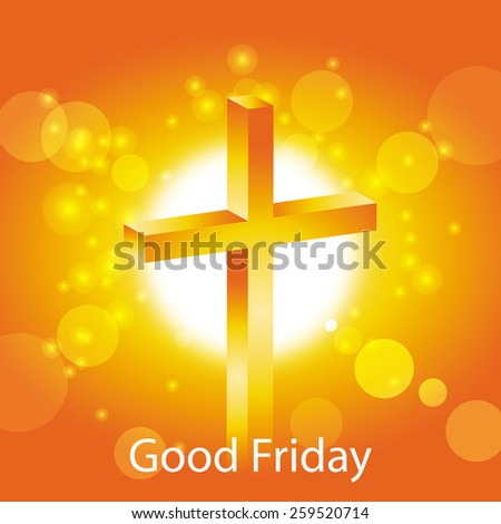 good friday greeting card jesus cross on abstract sun background vector illustration - stock vector