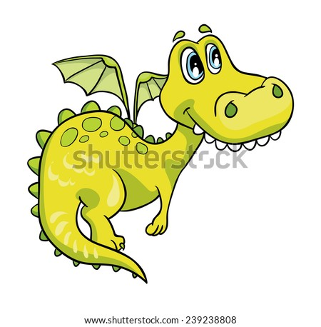 good green dragon vector illustration on a white background - stock vector