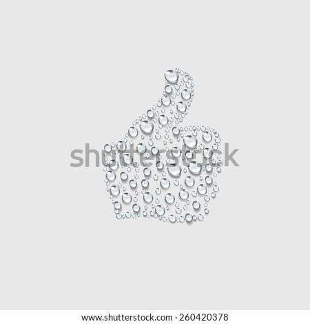 good hand sign, transparent water drop vector - stock vector