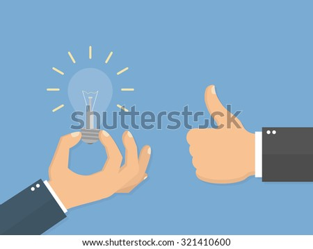 Good idea concept. Hand holding a lightbulb and an another hand showing a thumbs up hand sign. Flat style - stock vector