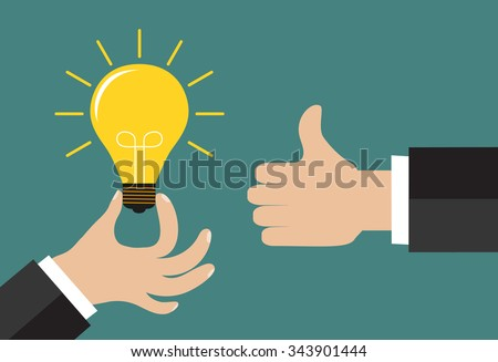 Good idea concept. Hand holding a lightbulb and an another hand showing a thumbs up hand sign. Flat style. Business strategy planning objects icon set collage. Vector illustration - stock vector