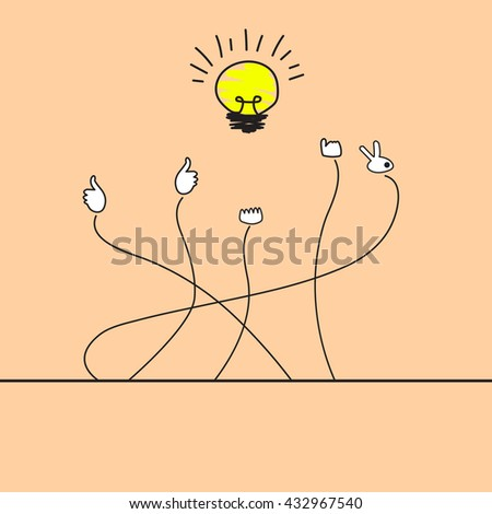 Good idea concept. Hand holding a lightbulb while other hands showing thumbs up hand sign.Like hand sign. - stock vector