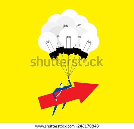 Good ideas make the arrow forward and up - stock vector