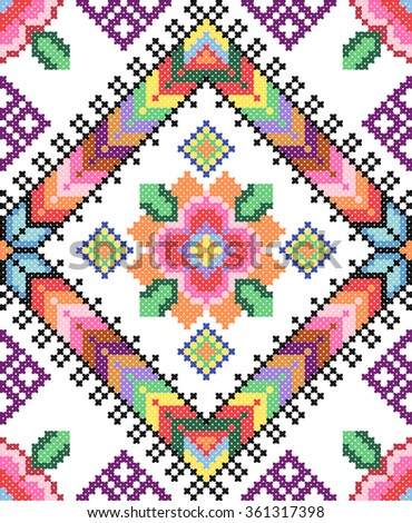 good like handmade cross-stitch ethnic Ukraine pattern. old embroidery - stock vector