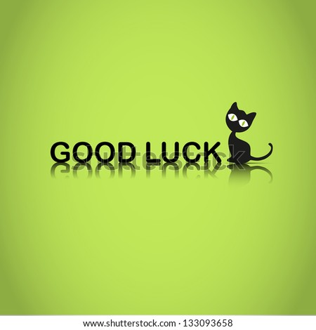 good luck background with black cat - stock vector