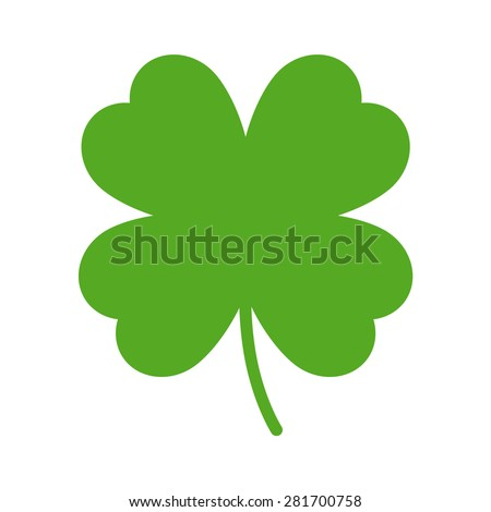 Good luck clover or four leaf clover flat icon for apps and websites - stock vector