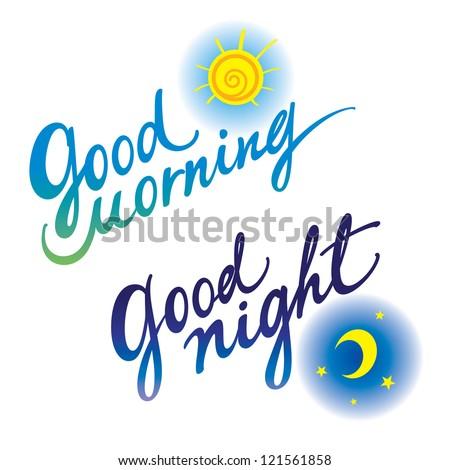 Good morning Good night day evening sleeping awakening - stock vector