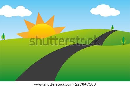 good morning landscape scenery cartoon - stock vector