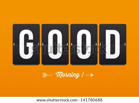 Good morning, mechanical panel letters. Typography, font, type vector vintage retro. - stock vector