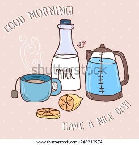 Good morning - simple tea vector illustration - stock vector