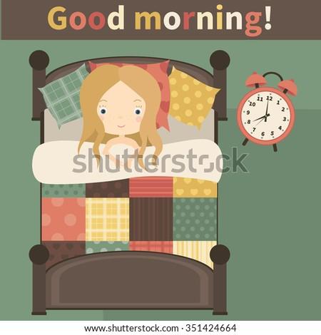 Good morning. The little girl in bed, woke up.Vector illustration - stock vector