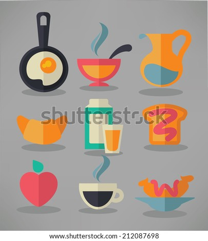 good morning, vector collection of traditional breakfast meal in flat style - stock vector