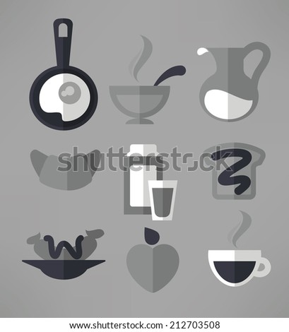 good morning, vector monochrome collection of traditional breakfast meal in flat style - stock vector