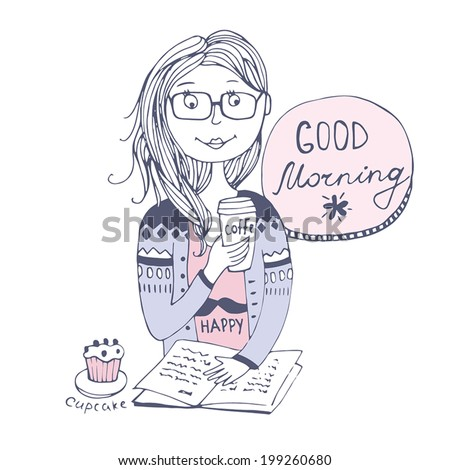 Good morning  with coffee   - stock vector