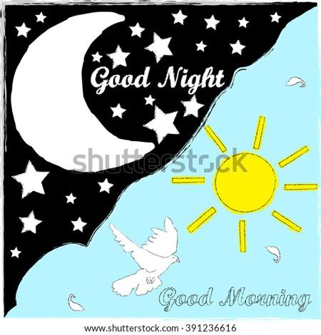 Good Night Good Morning Stock Vector 2018 391236616 Shutterstock