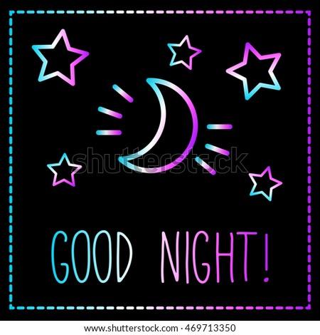 Good Night Card Crescent Moon Stars Stock Vector 469713350