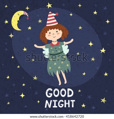 Good night card with a cute fairy. Vector illustration