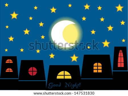 good night concept, romantic vector background with houses in silhouettes and blue sky with stars and moon - stock vector