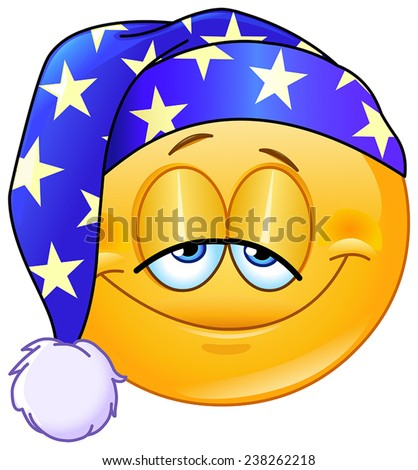 Good night emoticon with nightcap - stock vector