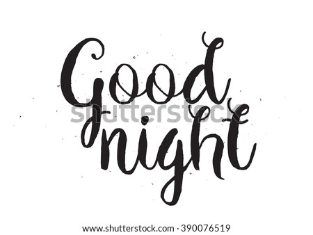 Good night inscription greeting card calligraphy stock vector