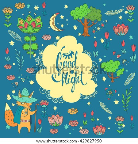 Good night lettering. childish vector background with wonderful forest glade. doodle illustration with moon,  trees, flowers and cute cartoon character in cloak. Fox wayfarer in night magic forest - stock vector