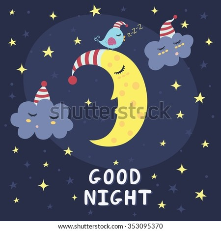 Good night vector card with the cute sleeping moon, clouds and a bird - stock vector