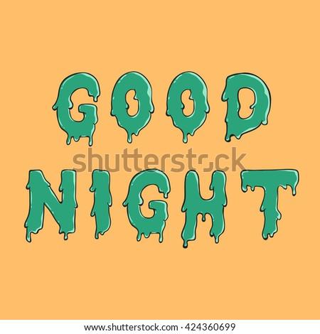 Good Night Water Drop Text Green Stock Vector 424360699 Shutterstock