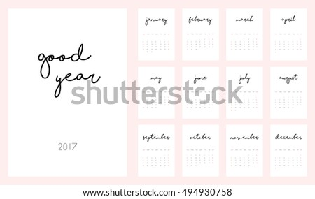 Good Year beautiful monthly Calendar for 2017 Year. Printable and ready to use design template. Stylish monochrome stationery design. Week starts from Sunday. Minimal vector calendar for 2017