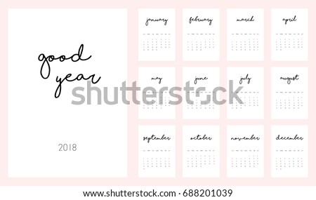 2018 yearly printable calendar