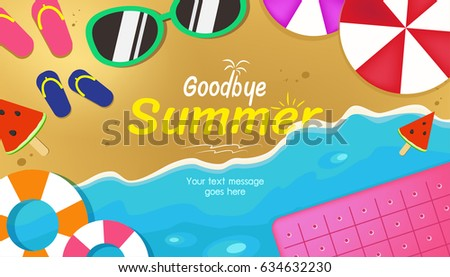 Goodbye Summer Text Title Poster Design On The Background Of Beach Holiday  Objects. Vector Illustration