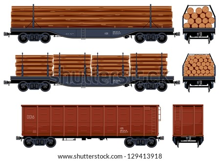 Goods Van (Train #23) Pixel optimized. Elements are in the separate layers. In the side, back and front views. - stock vector