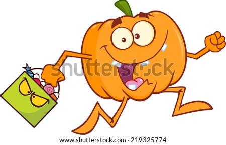 Goofy Halloween Pumpkin Cartoon Mascot Character Running With Bag Of Candy - stock vector